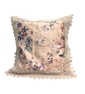 Lovely Lace Cushion with Insert-Khaki Floral with Lace