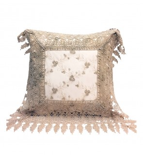 Lovely Lace Cushion with Insert-Khaki Organza Lace