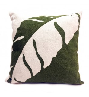 Lovely Lace Cushion with Insert-Green Leaf Full Embroidery