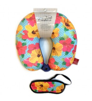 Neck Pillow with Matched Eyemask - Hibiscus