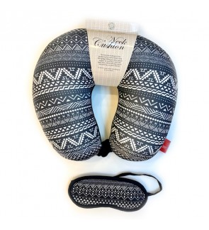 Neck Pillow with Matched Eyemask - Black & White Enthic