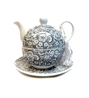 Glass Tea Pot with Porcelain Cup & Saucer - (Grey&White)